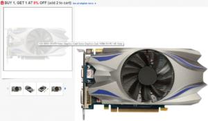 screenshot z obchodu ebay, kde je na obrázku fotografie grafické karty GTX 550 TI PCI-express s přeznačeným biosem na GTX 970, jednoventilátorovým chlazením uprostřed a SLI můstkem, VGA konektorem, DVI a TV výstupem a s přídavným 6pinovým napájením