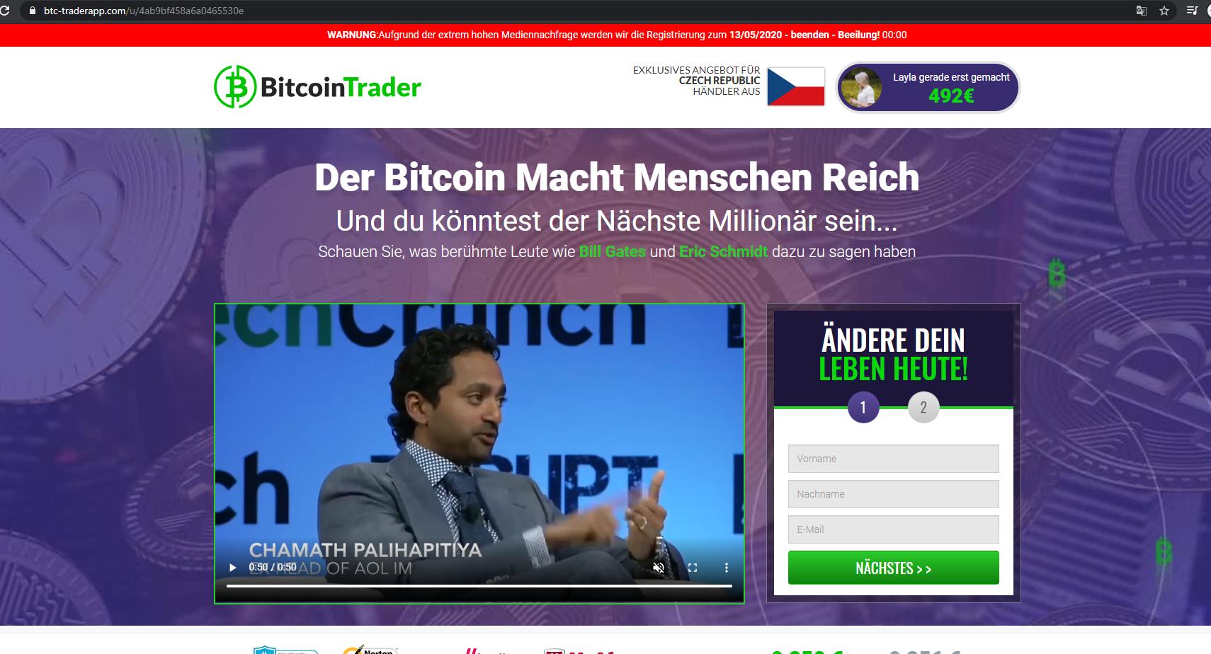 Ukázka po přesměrování na falešný web propagující registraci na zvláštní falešnou burzu BitcoinTrader, kde je sestříhané video jak mluví různé miliardáři, včetně např. J. Mcaffeeho atd...