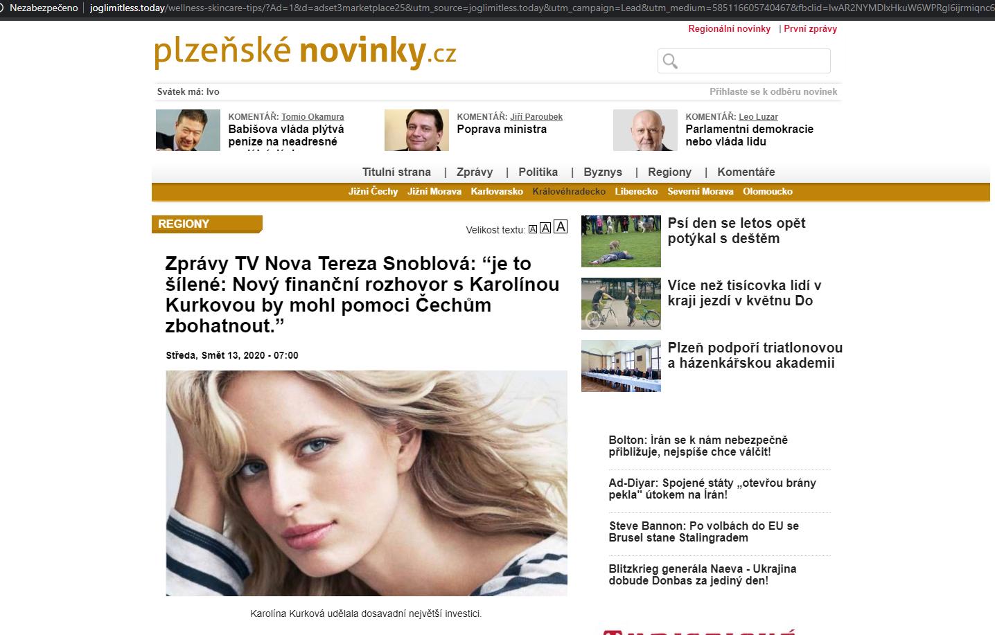 Na obrázku je falešný web se záhlavím z webu plzeňské novinky.cz, pod nadpisem jsou reklamy ukazující na podvodný email, pak velký tučný nadpis a pod ním fotografie blonďaté mladé modelky