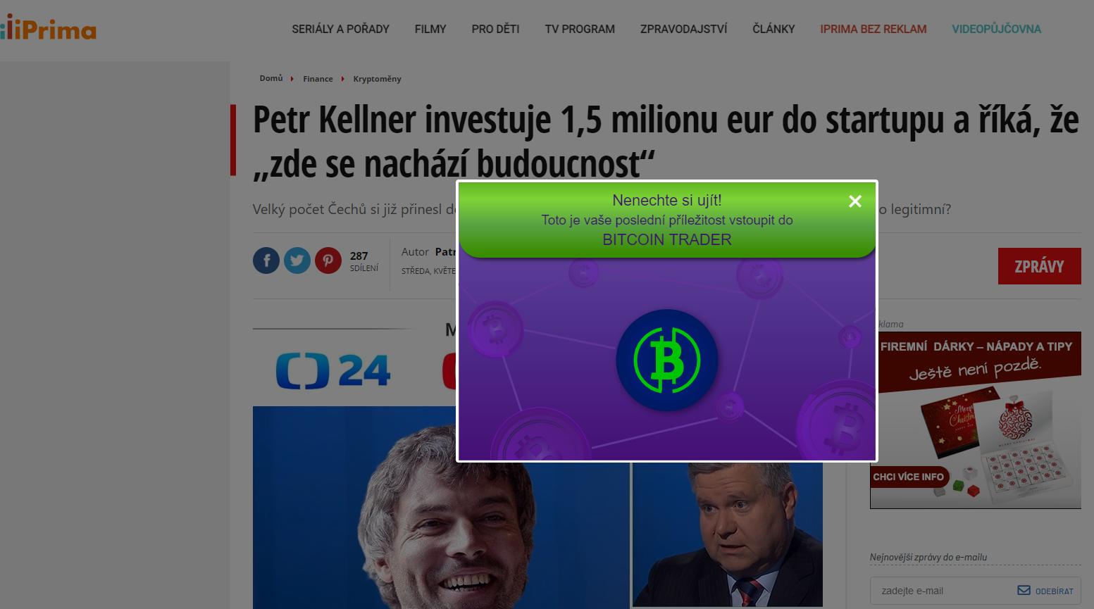 Ukázka webu s Kellnerem, kde si zase autoři ukradli logo iPrima a ČT24
