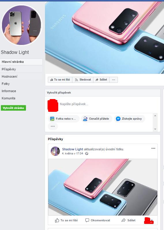 Screenshot facebookové stránky Shadow Light, na které jsou jen v záhlaví fotografie chytrých telefonů, téměř žádný popisek, žádné příspěvky, žádné komentáře, naprosto prázdná, čistě založená stránka