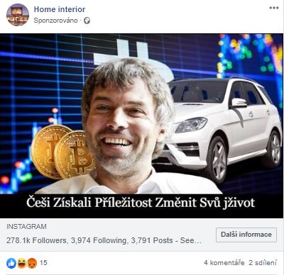 Verze facebookové reklamy s petrem kellnerem, za jehož zády je vidět SUV značky Mercedes, imaginární bitcoinové mince a modrá mřížka grafu