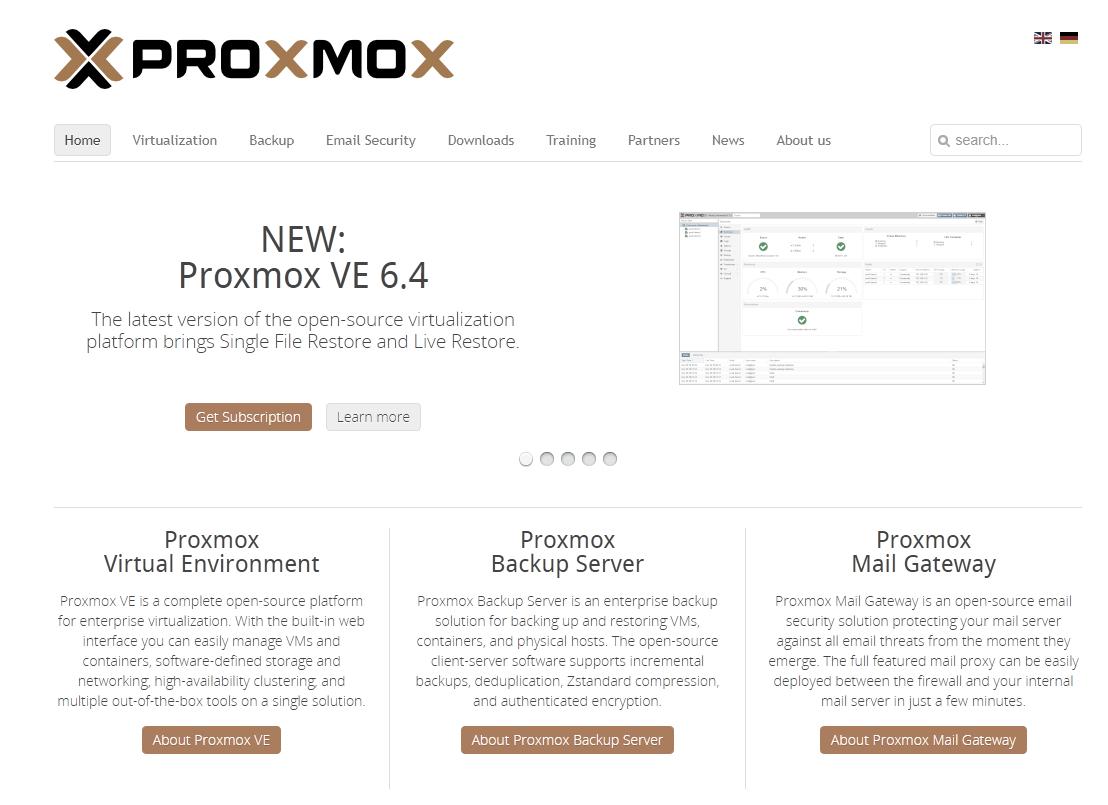 ilustrační obrázek pohledu na hlavní stránku společnosti Proxmox